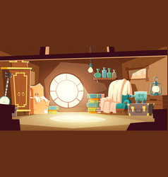 House attic with old furniture cartoon background vector