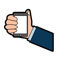 human hand holding smarthpone device technology vector image