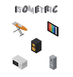 Isometric device set of music box television vector