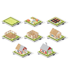 isometric house construction phases isolated on vector image