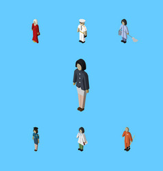 Isometric people set of housemaid cleaner vector