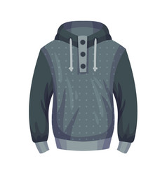 Jumper or sleeved sweater with hood as male vector