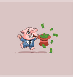 kitty in business suit jumping with hat of money vector image