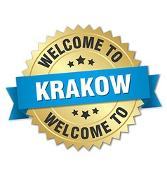 Krakow 3d gold badge with blue ribbon vector