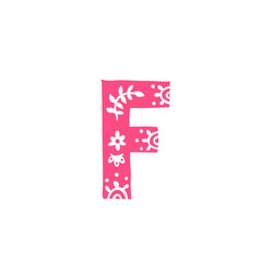 Letter f pink letter with ornament applique vector