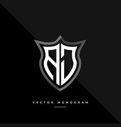 Letters aj monochrome silver shield monogram logo vector