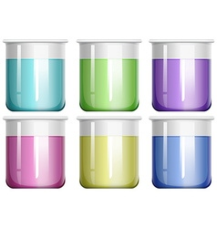 Liquid mixture in glass beaker vector