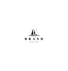 Logo on which an abstract image a yacht vector