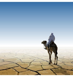 Man on a camel going through the desert vector