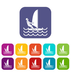 man on windsurf icons set vector image