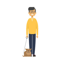 Man walking with cat full length boy with pets on vector