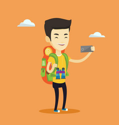 Man with backpack making selfie vector