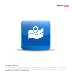 Map location icon - 3d blue button vector