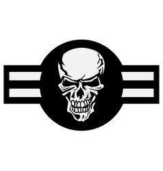 military aircraft emblem with skull roundel vector image
