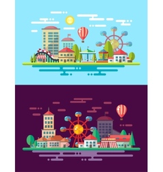 Modern flat design conceptual city with carousels vector