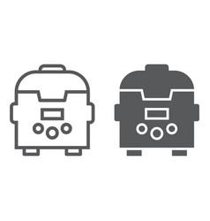 Multicooker line and glyph icon kitchen and vector