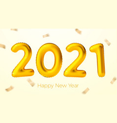 New year golden balloons with number 2021 vector