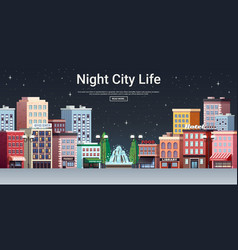 Night city life town center vector