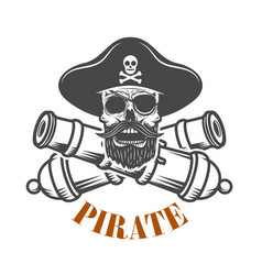 Pirates emblem template with cannons and pirate vector