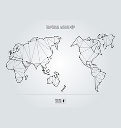 polygonal abstract world map asia in center vector image