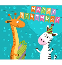 Postcard with giraffe and zebra which celebrate vector image