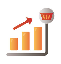 price hike arrow up in bars infographics vector image