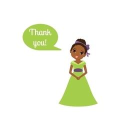 Princess with speech bubble Thank you vector