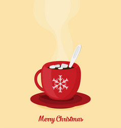 red christmas coffee mug vector image