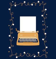 retro styled golden typewriter with blank sheet of vector image