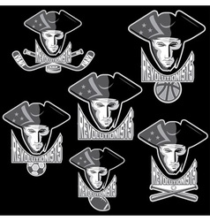 Revolutionists soldiers sport teams labels set vector