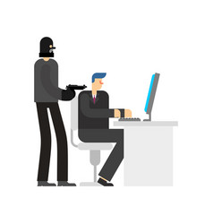Robber in office burglar and manager at computer vector