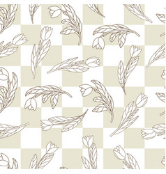 Seamless pattern with cute cartoon flowers vector