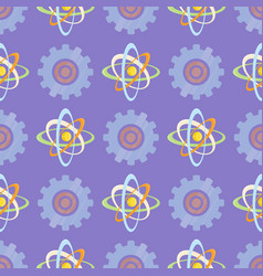 seamless pattern with science themed atomic model vector image