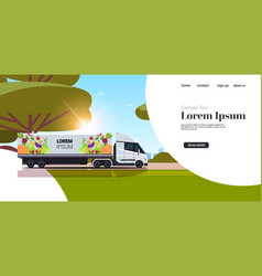 semi truck trailer with organic vegetables on vector image