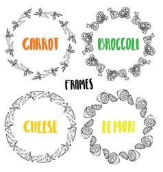 set frames carrot broccoli lemon cheese vector image