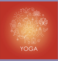 set hand drawn yoga and wellness line icons vector image