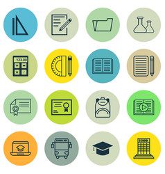 Set of 16 education icons includes chemical vector
