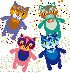 Set of cute cartoon cats vector image