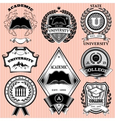 set of templates for emblem in education vector image