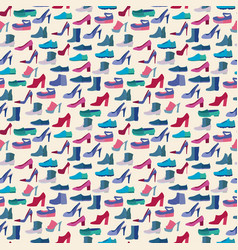 shoes fashion collection seamless pattern vector image