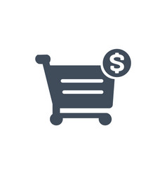 shopping cart and dollar sign icon isolated on vector image
