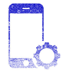 smartphone setup gear textured icon vector image