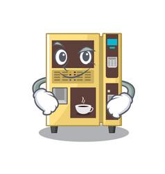 Smirking coffee vending machine with cartoon shape vector