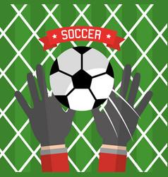 Soccer hand goalkeeper gloves ball red vector