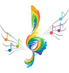 Splash treble clef and musical note vector