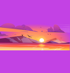 sunset in ocean or sea scenery nature landscape vector image