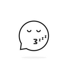 thin line sleeping emoji speech bubble logo vector image