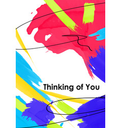 Thinking you postcard template vector