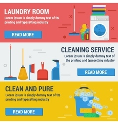 Three banners laundry and cleaning vector image
