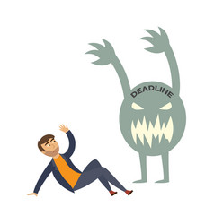 Tired businessman overwork deadline monster vector